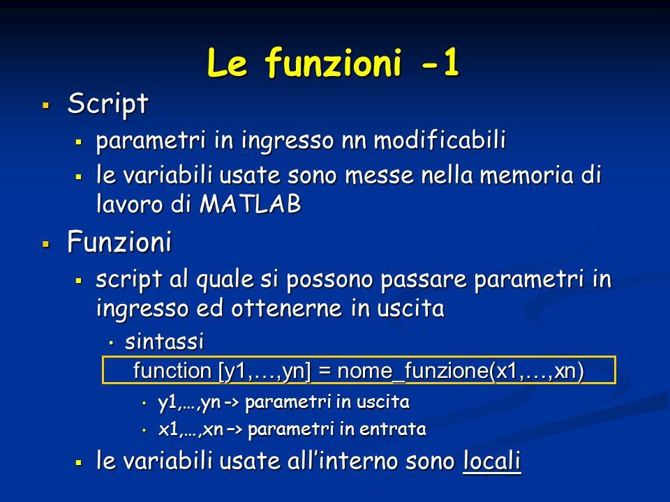 function [y1,…,yn] = nome_funzione(x1,…,xn)